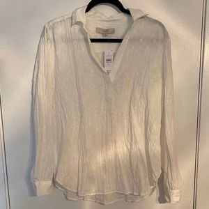 NWT LOFT Textured Collared Blouse